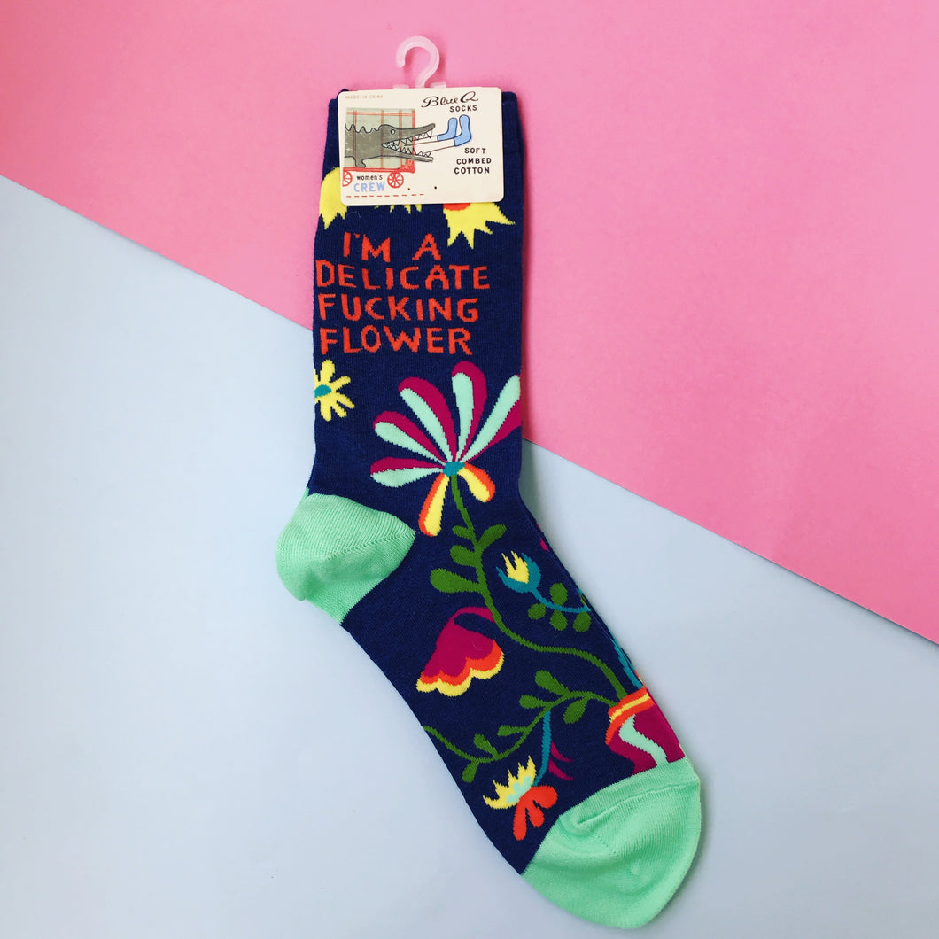 Blue Q Delicate Flower Crew Socks