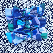Block Party Bow Headband - blue