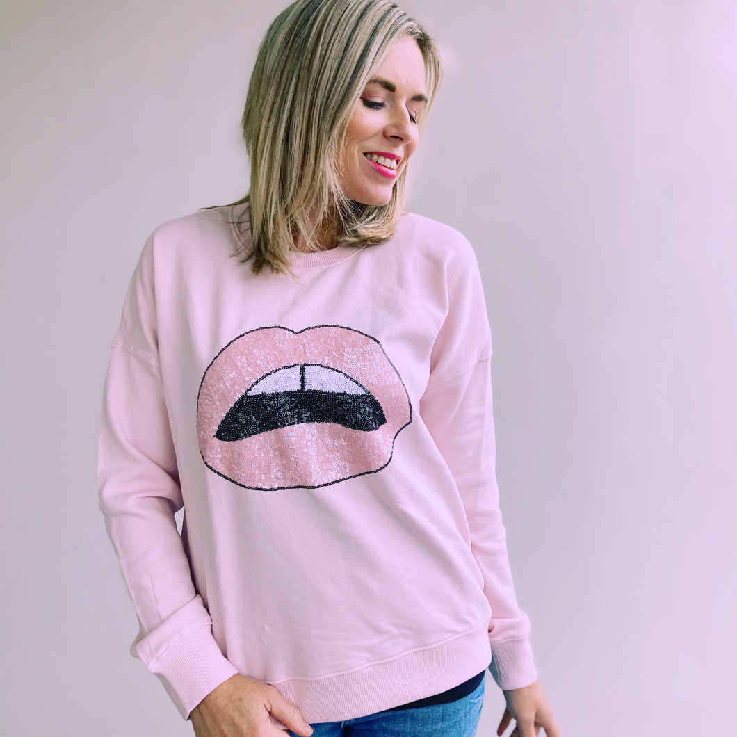 Sequin lips sweater - dusty pink