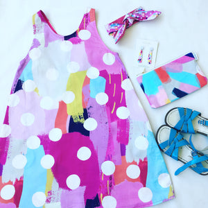 Opposites Abstract Reversible Dress Pinks