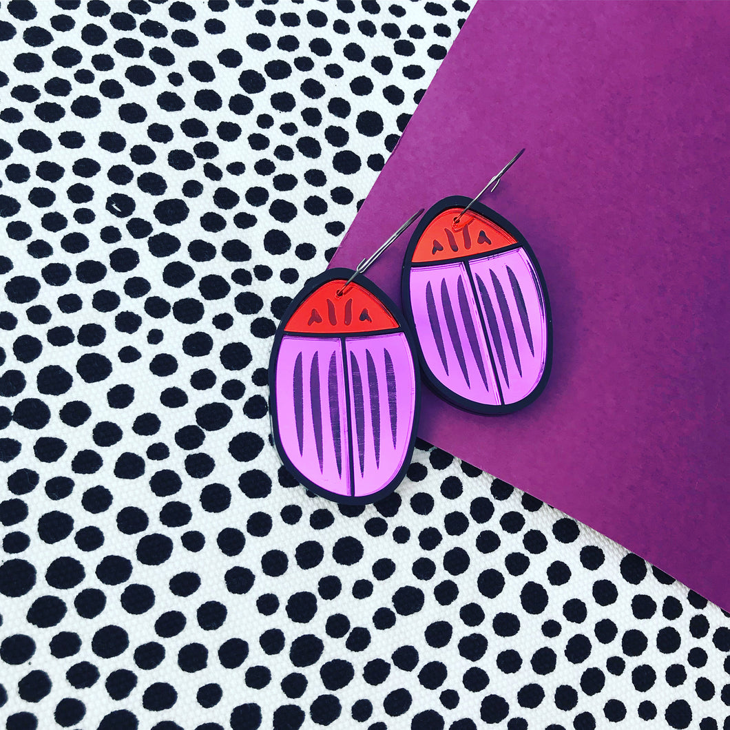 Bug Off Purple and Red earrings
