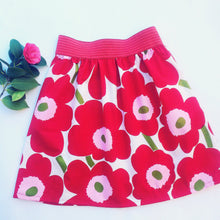 Red and Pink floral skirt made with Marimekko fabric.