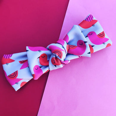 You're So Tweet Bow Headband Grey & Pink