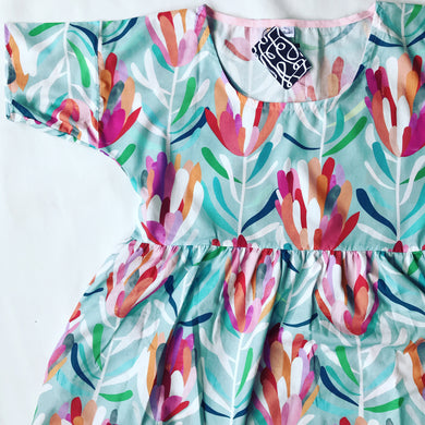 Aqua Protea Lovers Smocked Winter Navy Dress