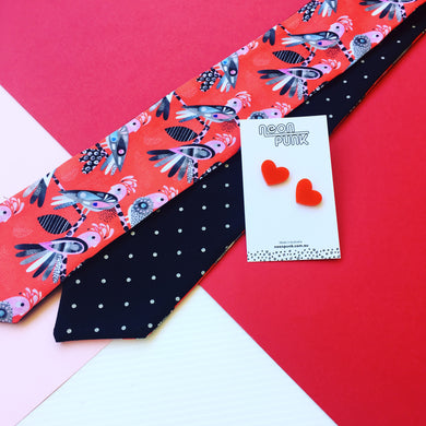 Flock Yeah Red Hair Tie & Heart Studs Set