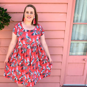 Flock Yeah LONGER LENGTH Red Sundress