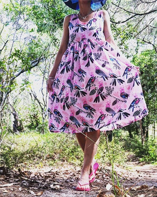 Flock Yeah Longer Length Sundress Pink Sundress
