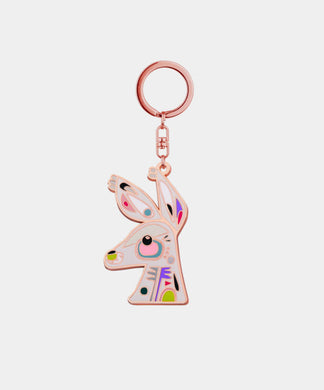 Kangaroo Keychain - rose gold metal