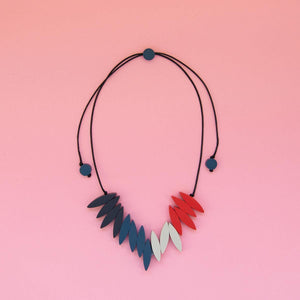 Spark Fringe Necklace - pink and blue
