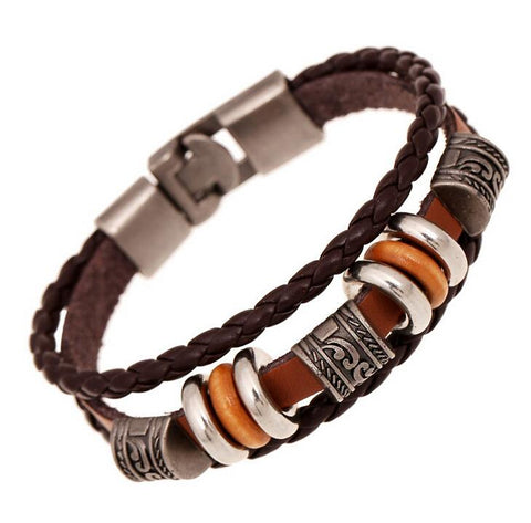 Retro Leather Woven Charm Men Bracelet
