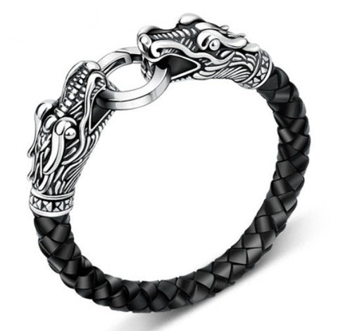 Titanium Leather Dragon Men Bracelet