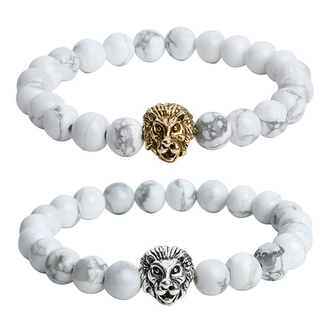 White Lion Head Silver/Gold Bracelet