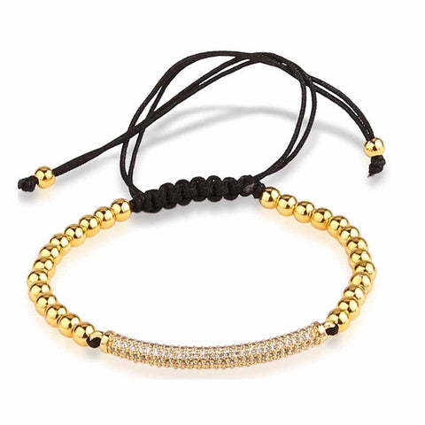 Gold Micro Zircons Beads Men Bracelet Jewlery