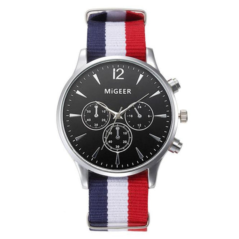 Tri-Color Luxury Canvas Men Watch
