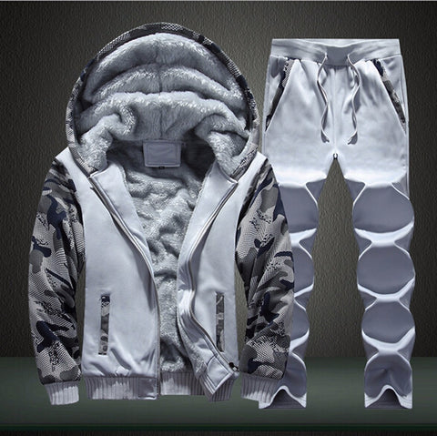 White Tracksuit Coat Hoodies + Pants Sweat Suit