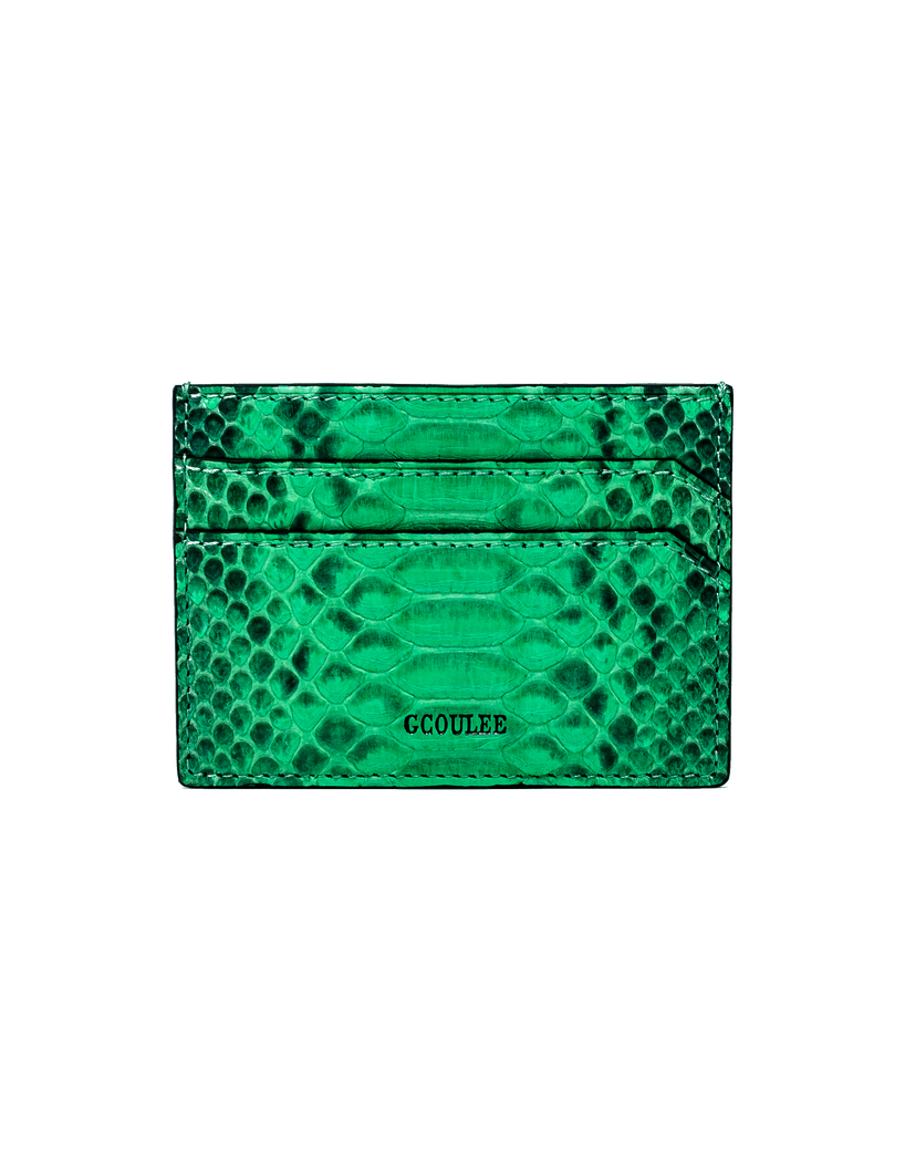Card case in green python