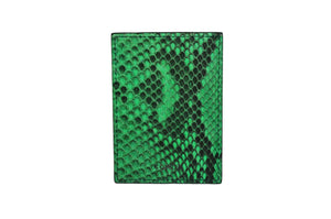 Money Clip green python leather