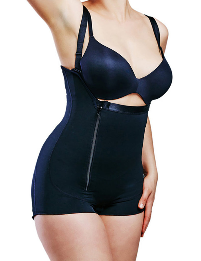 Midsection Side Zipper Body Shaper with Adjustable Straps