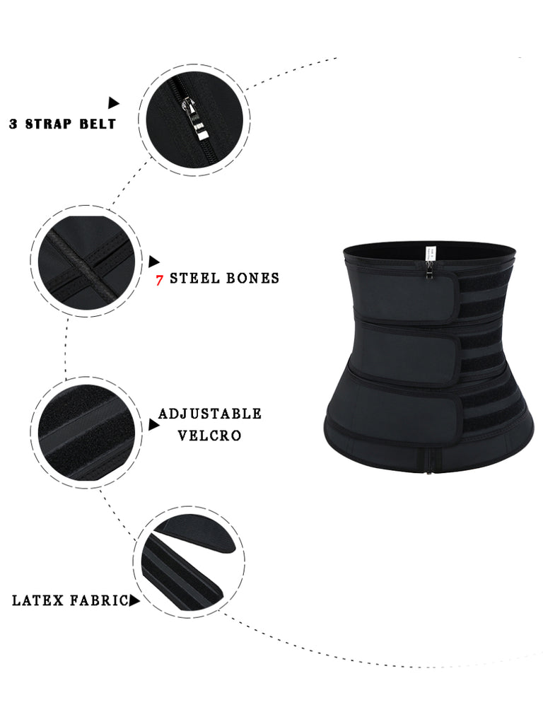 Triple Belt Neoprene Zipper Waist Trainer With Thermo Technology