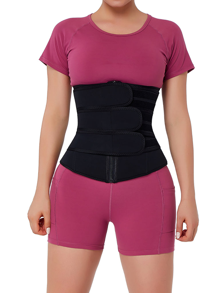 Triple Belt Midsection Neoprene Waist Trainer With Zipper