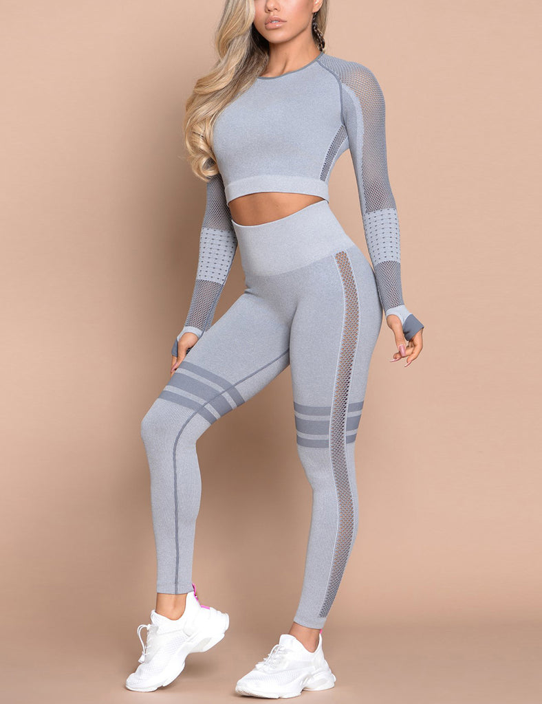 Long Sleeve Long Pants Sports Suit Waist Form Fitting Open Side Cut Two Piece
