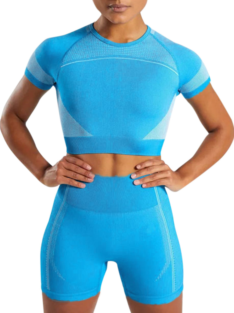 Short Sleeves Sweat Suit Seamless Shorts Set Two Piece
