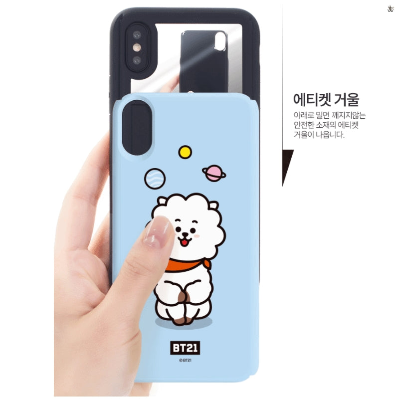 competitive price e418d ccaf7 [LINE X BT21] Card + Mirror Guard Up Case For iPhone and Samsung (Free  Shipping)