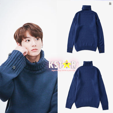 Jungkook's Style Blue Sweater.
