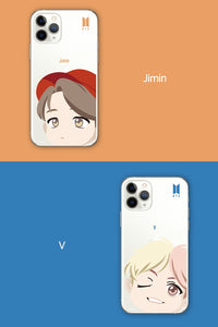 [BIG HIT] OFFICIAL CHARACTER MOTION FACE CLEAR SOFT Case (iPhone and Samsung)