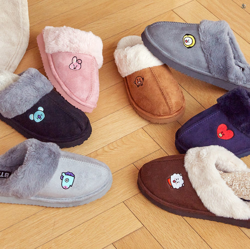 [LINE X BT21] Happy Fur Winter Slippers