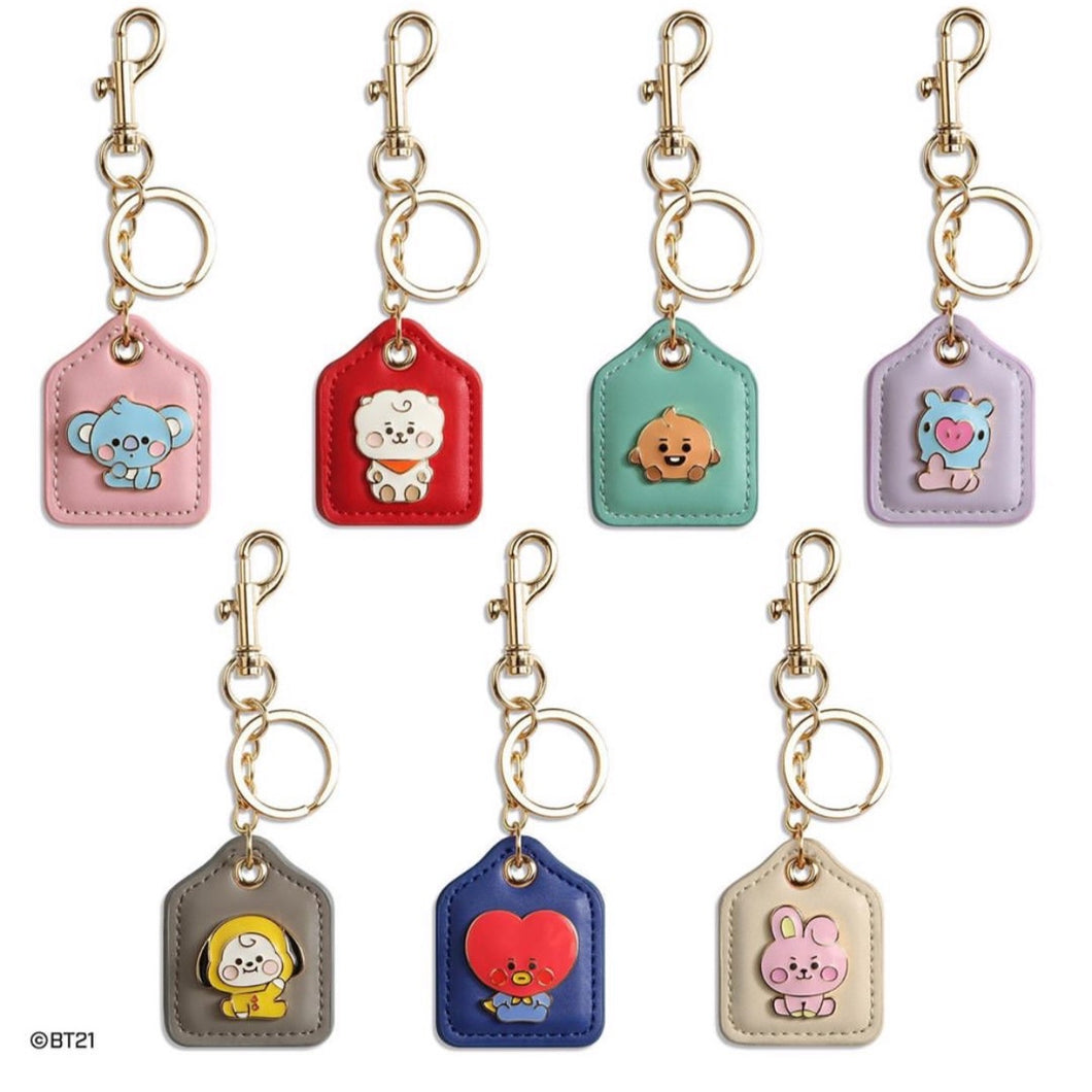 [LINE X BT21] Baby Leather Metal Keyring