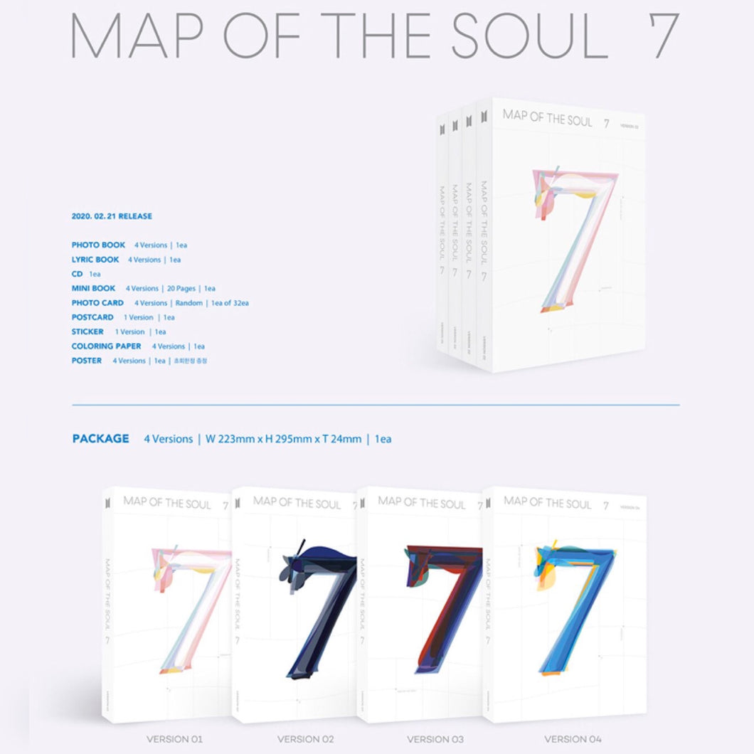 BTS - MAP OF THE SOUL: 7 (You Can Choose Ver + Poster + Free Shipping)