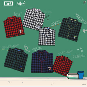[LINE X BT21] Flannel Check Pajama Set