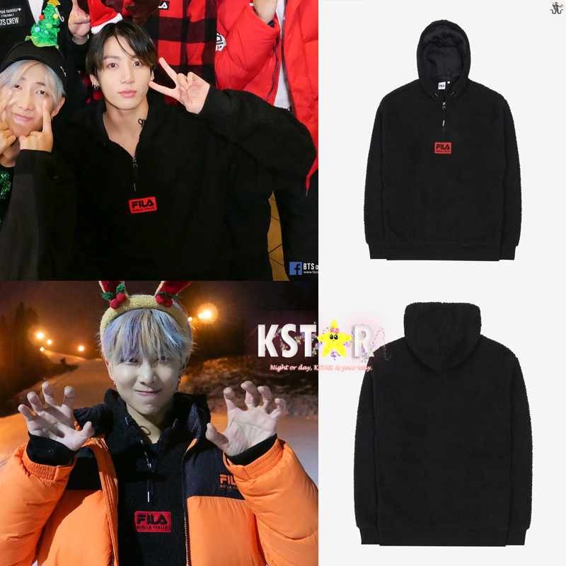 [FILA X BTS] BOX Logo Boa Hooded T-shirt Black