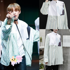 Taehyung's Style Striped Long Sleeve Shirt