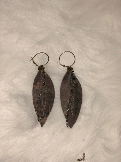 Camo Feather Earrings