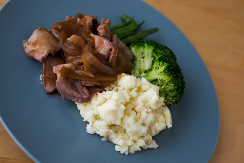 Rare Roast Beef with Onion Gravy