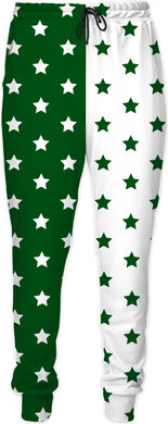 Green & White Split Stars Joggers