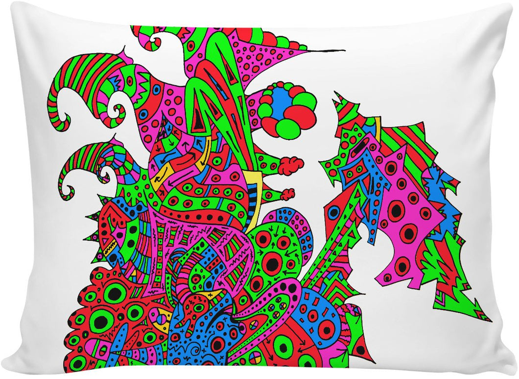 Alien 57 Blue Red Green Pink Blue & Orange Pillowcase