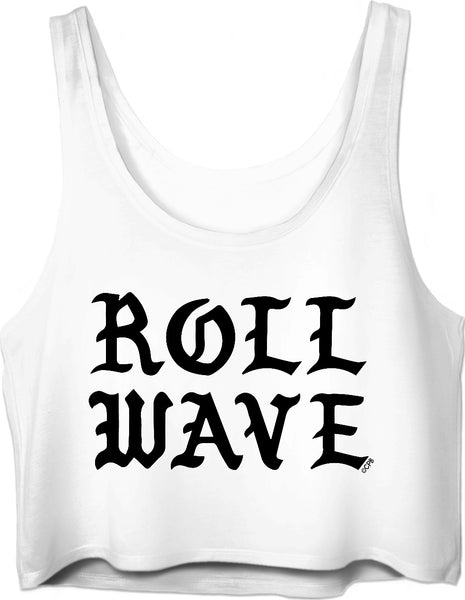 Roll Wave Stacked Black Gothic Crop Top