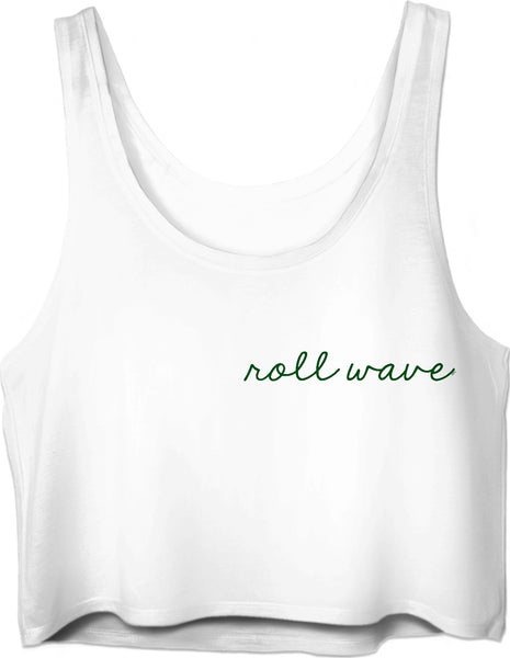 Roll Wave Small Green Script Crop Top