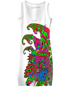 Alien 57 Blue Red Green Pink Blue & Orange Simple Dress