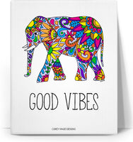 Colorful Tribal Elephant Good Vibes Canvas