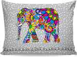 Colorful Tribal Elephant Grey Pillowcase