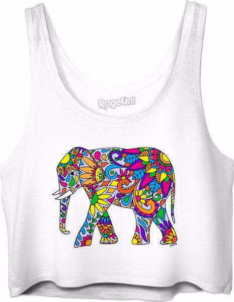 Colorful Tribal Elephant Crop Top
