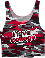I Love College - Red & Grey Camo Crop Top