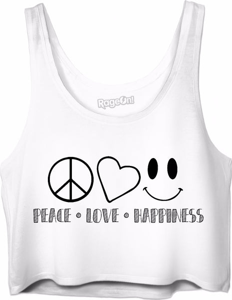 Peace Love Happiness Crop Top