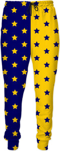 Blue & Yellow Split Stars Joggers