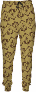 Gold Pierced Heart Pattern Joggers