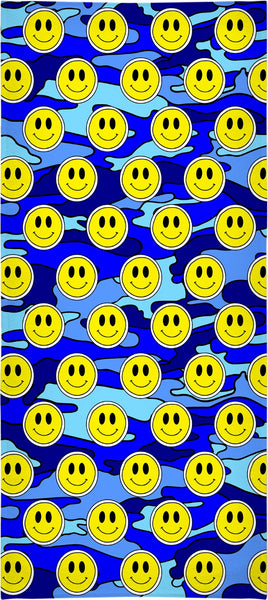 """Smiley Blue Camo"" Beach Towel"